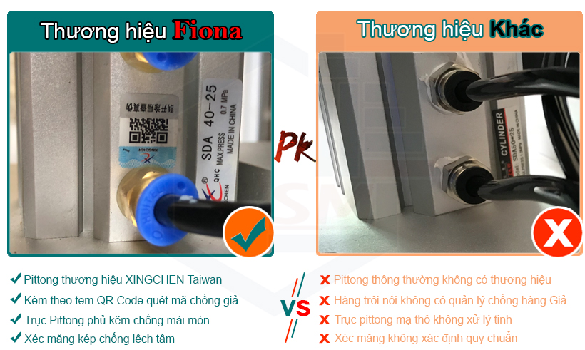 xi lanh khí nén dùng trên máy ép kính Fiona là hàng thương hiệu Taiwan