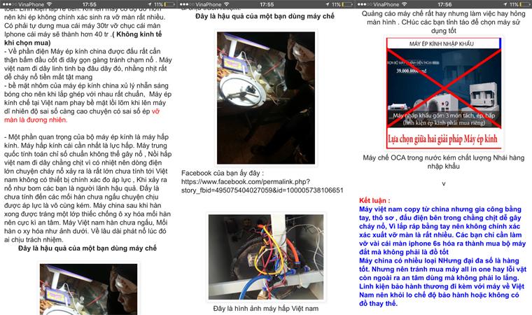 Bài viết của một người dùng phản ảnh về máy ép kính OCA gia công tại Việt Nam